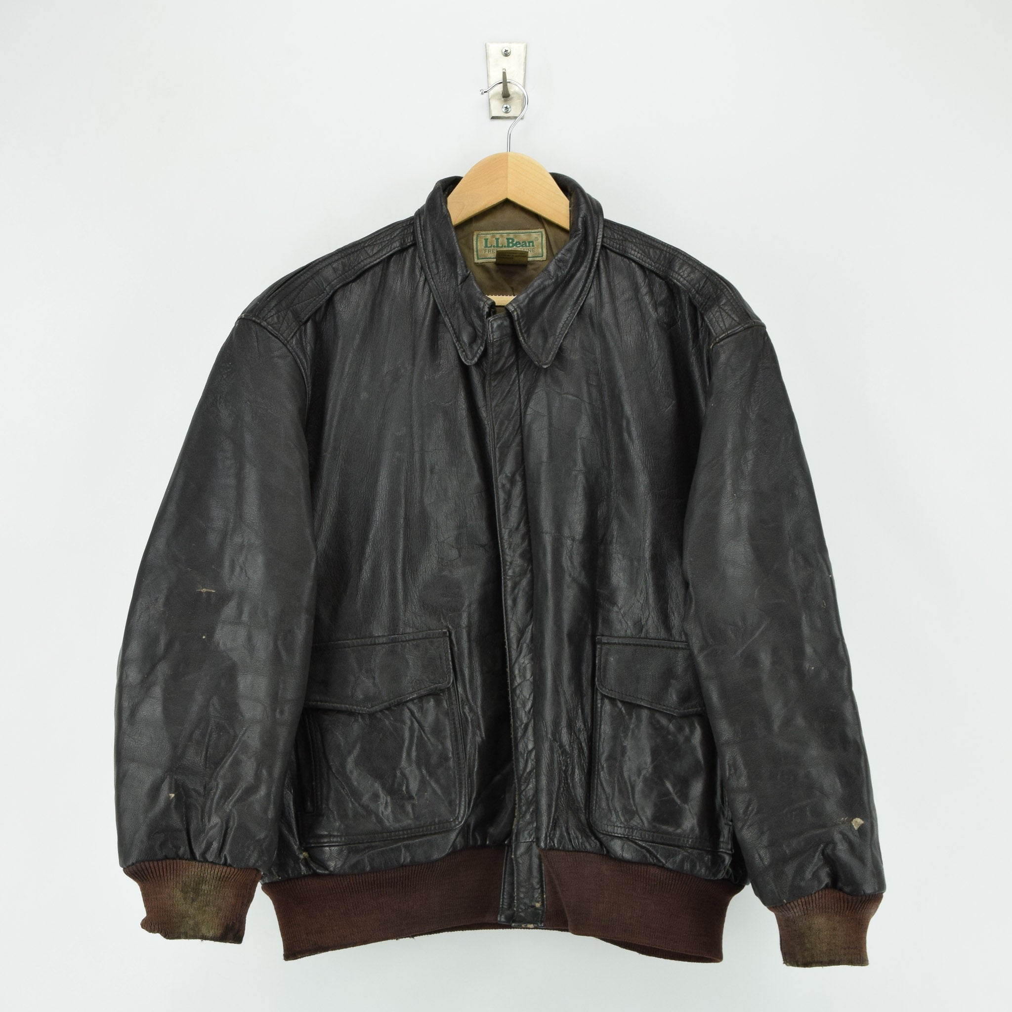 Vintage LL Bean A-2 Brown Leather Flight Bomber Jacket USA Made Talon Zip XL front