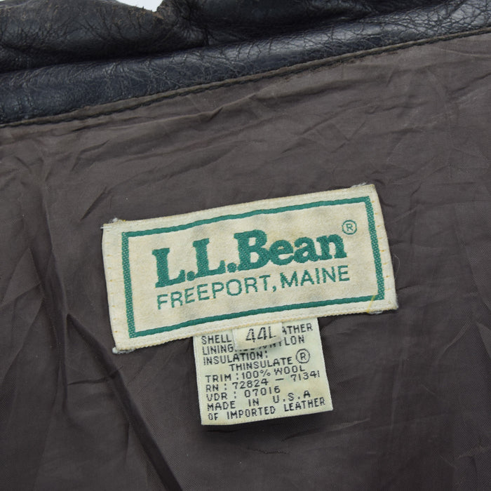 Vintage LL Bean A-2 Brown Leather Flight Bomber Jacket USA Made Scovill Zip XL label