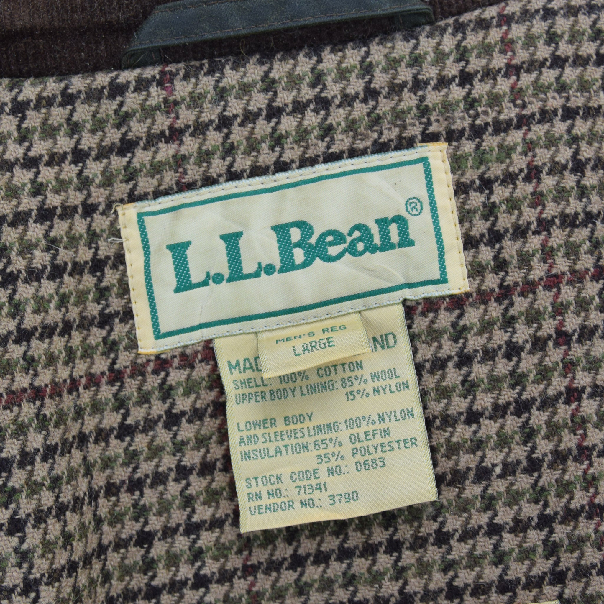 Vintage LL Bean Green Wax Cotton Hunting Shooting Jacket Thinsulate Lined L label