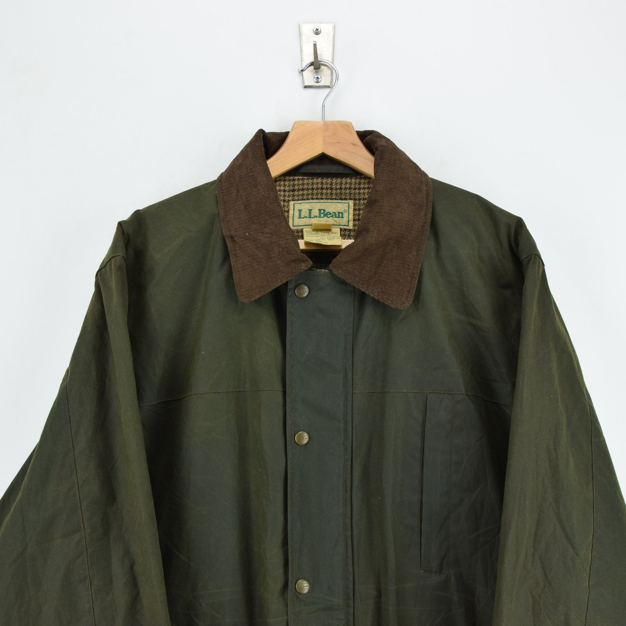Vintage LL Bean Green Wax Cotton Hunting Shooting Jacket Thinsulate Lined L chest