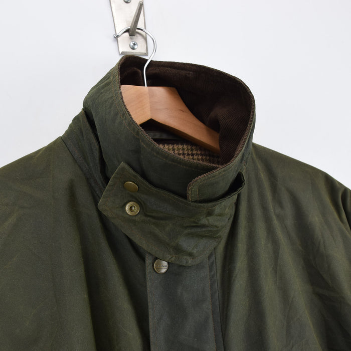 Vintage LL Bean Green Wax Cotton Hunting Shooting Jacket Thinsulate Lined L collar