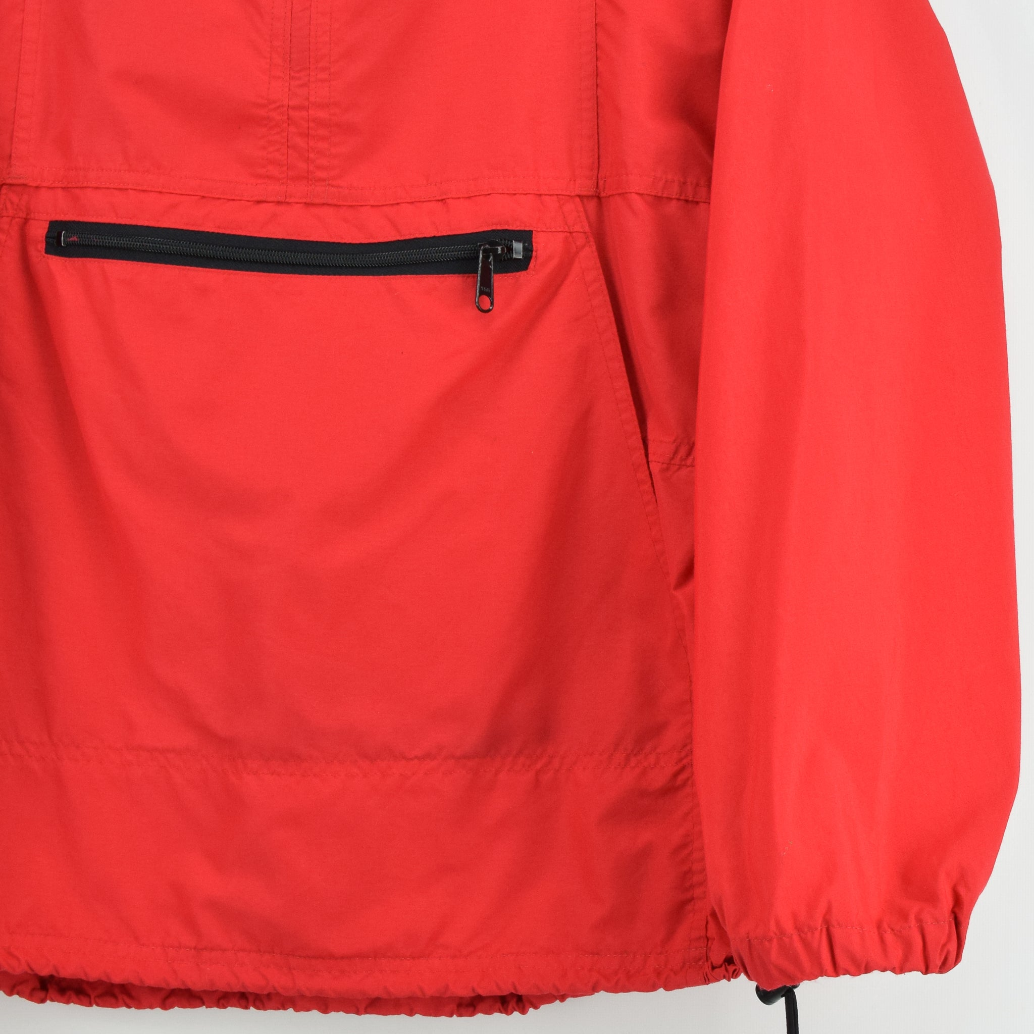 Vintage LL Bean Red Hooded Nylon Cagoule Unisex Jacket Made in USA S front hem