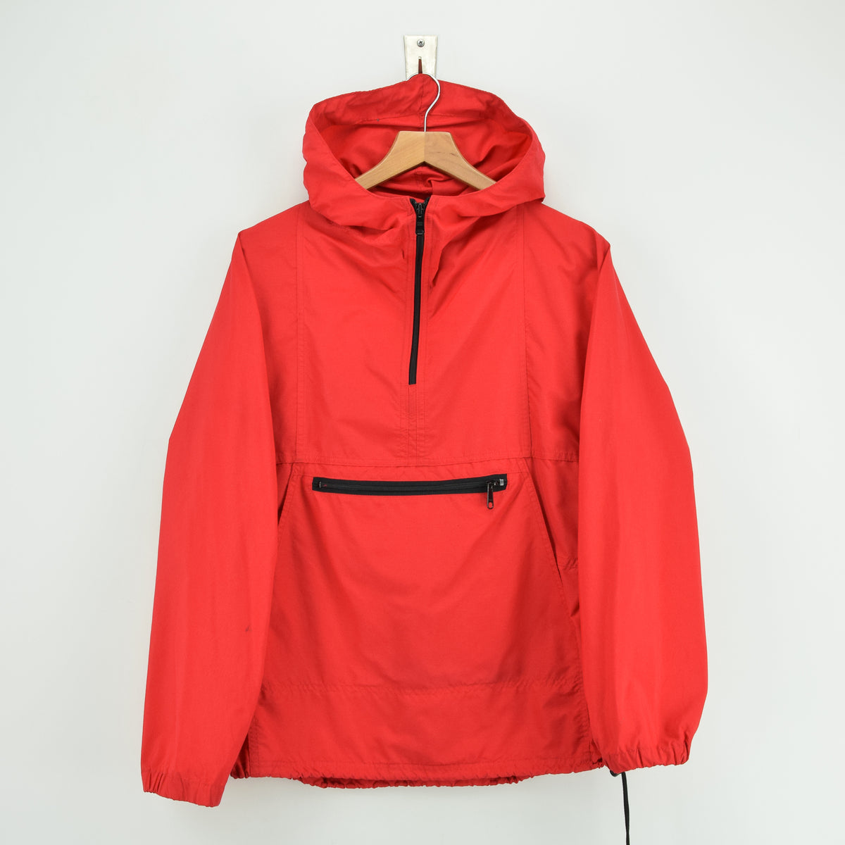 Vintage LL Bean Red Hooded Nylon Cagoule Unisex Jacket Made in USA S front