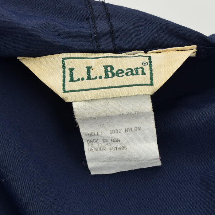 Vintage LL Bean Blue Packaway Hooded Pullover Unisex Jacket Made in USA S label
