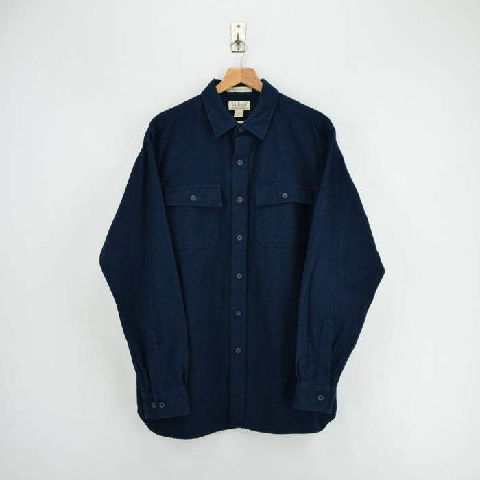Vintage LL Bean Navy Blue Cotton Chamois Cloth Flannel Shirt Long Sleeve L Reg front
