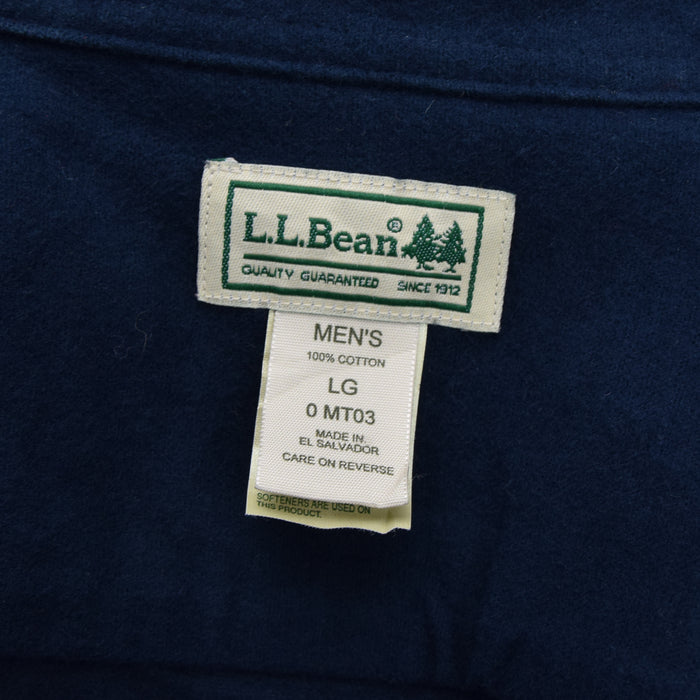 Vintage LL Bean Navy Blue Brushed Flannel Shirt Long Sleeve L / XL label