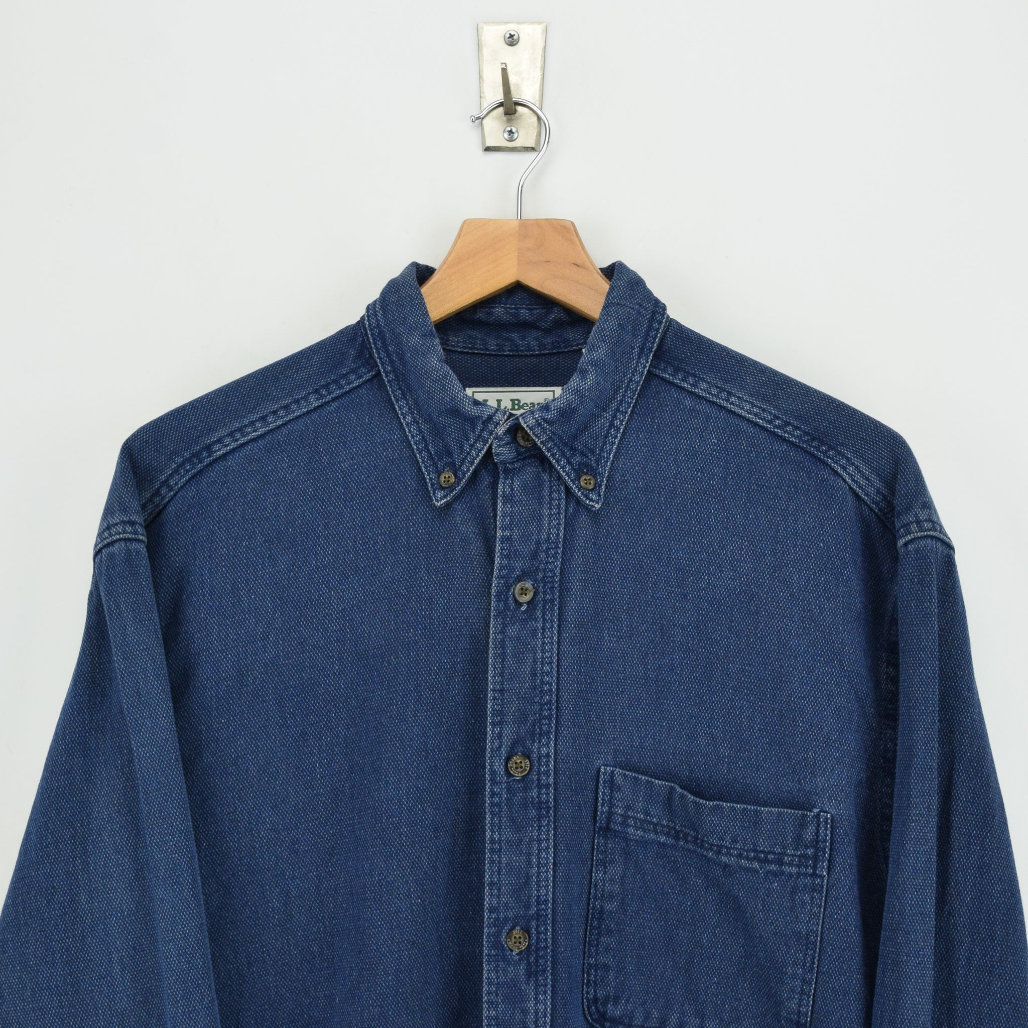 Vintage LL Bean AY45 Indigo Blue Cotton Shirt Long Sleeve Made in USA M Reg chest