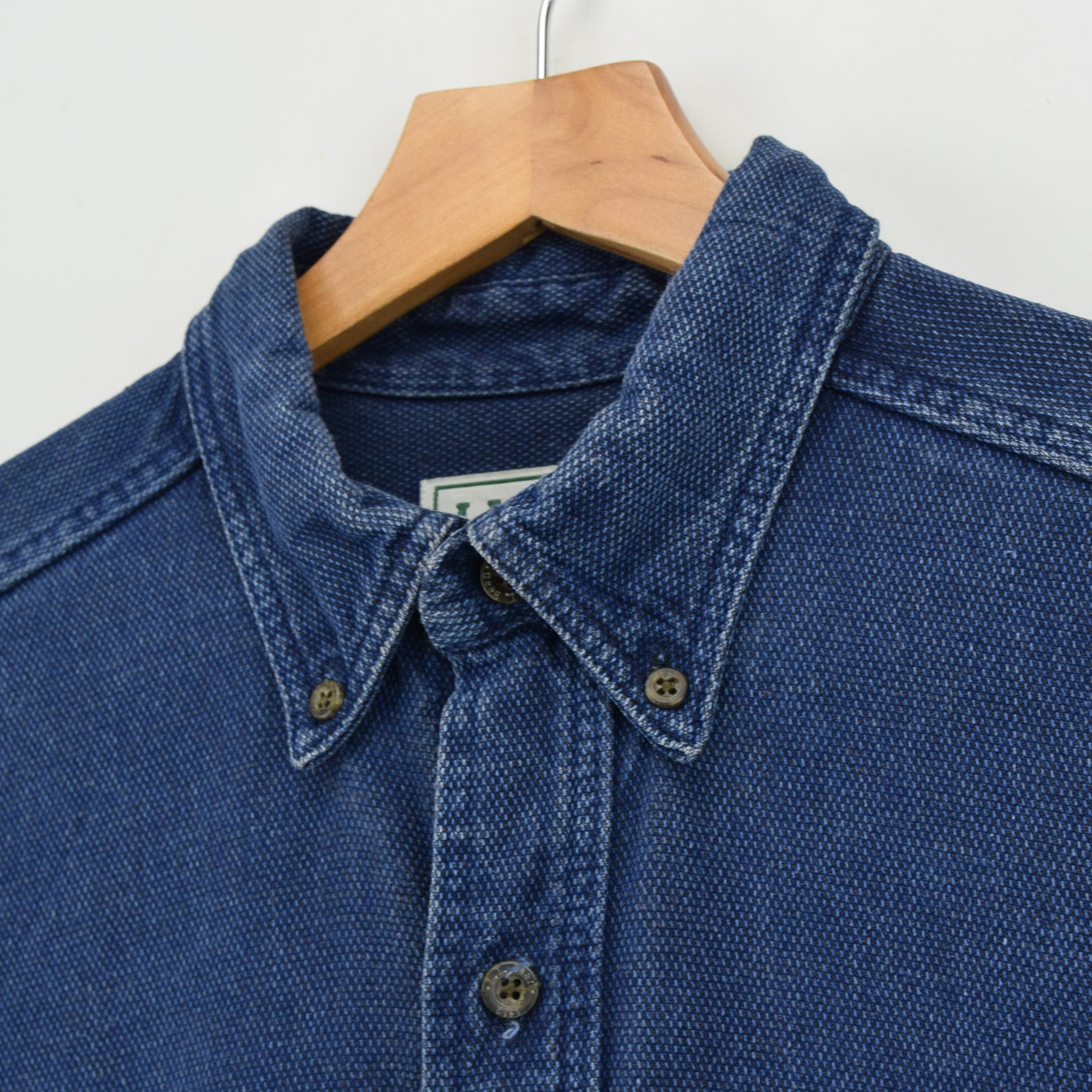 Vintage LL Bean AY45 Indigo Blue Cotton Shirt Long Sleeve Made in USA M Reg collar