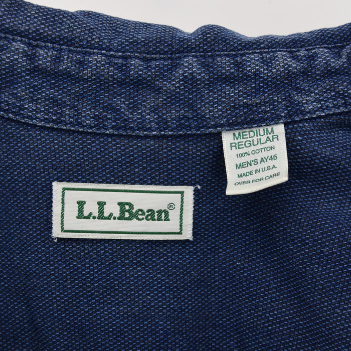 Vintage LL Bean AY45 Indigo Blue Cotton Shirt Long Sleeve Made in USA M Reg label