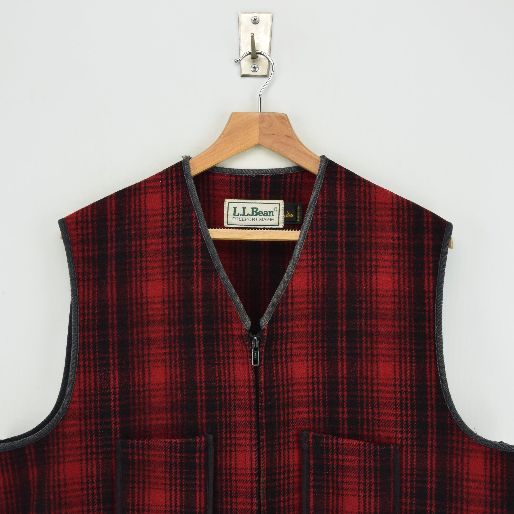Vintage LL Bean Buffalo Plaid Wool Hunting Waistcoat Vest Made in USA L / XL chest