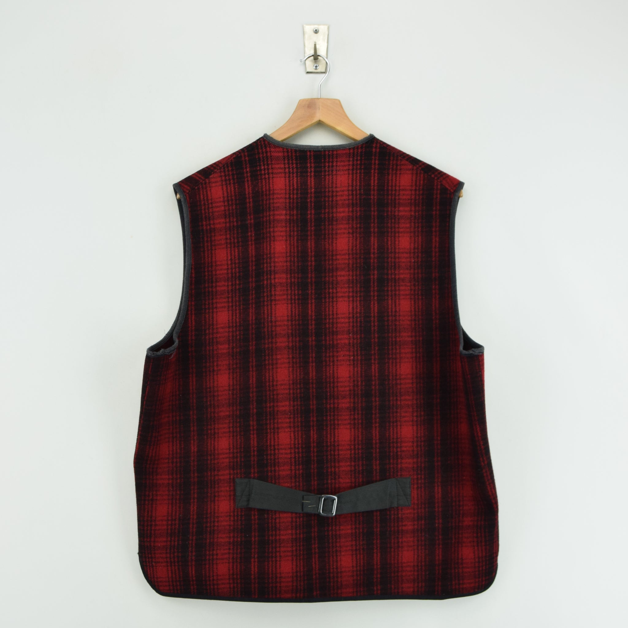 Vintage LL Bean Buffalo Plaid Wool Hunting Waistcoat Vest Made in USA L / XL back