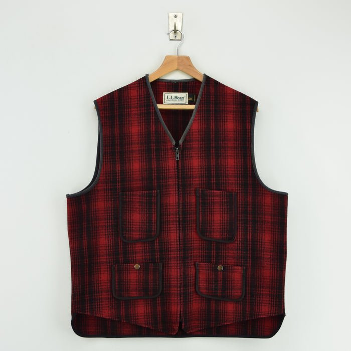 Vintage LL Bean Buffalo Plaid Wool Hunting Waistcoat Vest Made in USA L / XL front