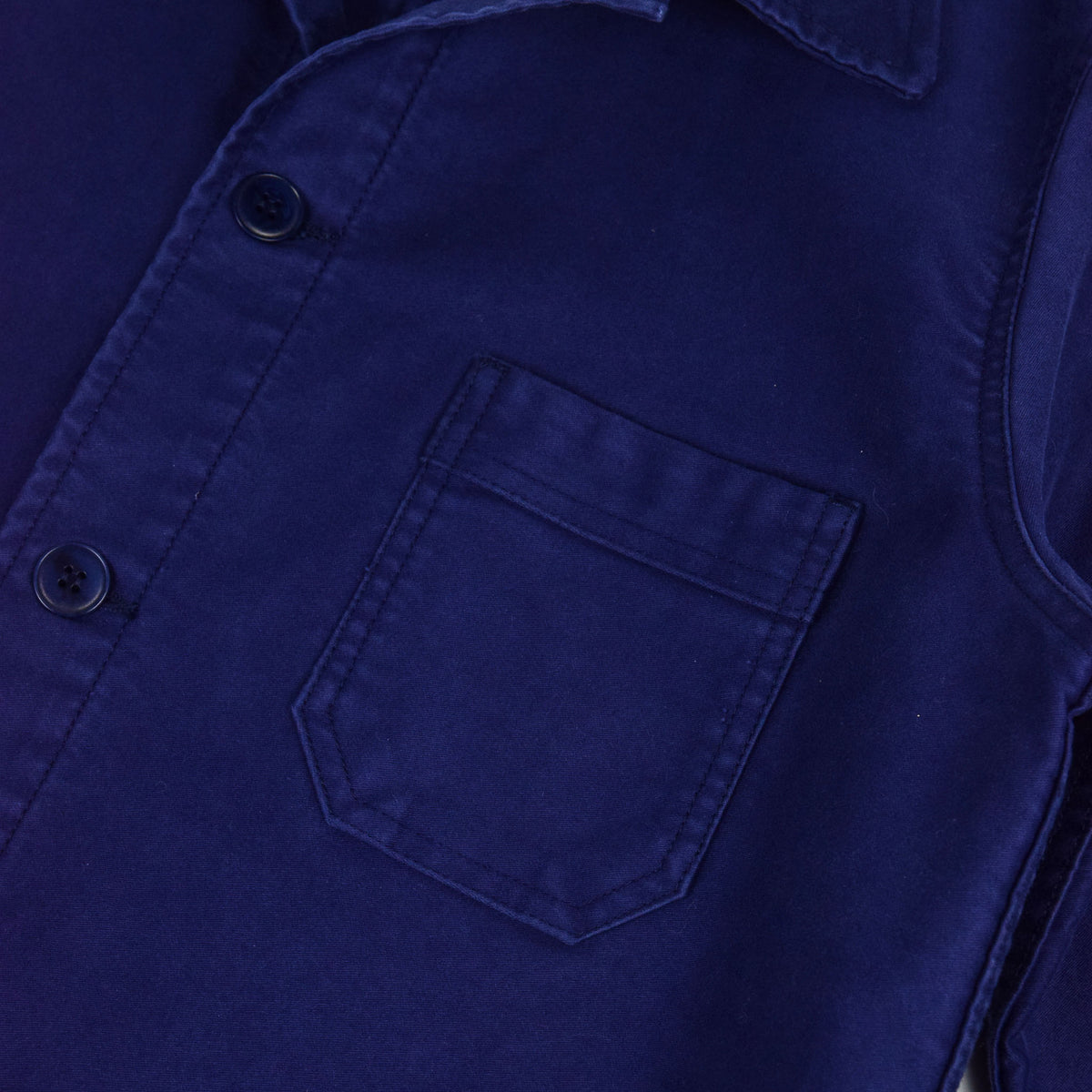 Le Mont St Michel Genuine Moleskin Work Jacket Blue Right Pocket