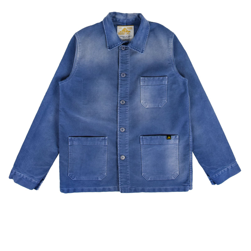 Le Mont St Michel Washed Moleskin Work Jacket Blue Front