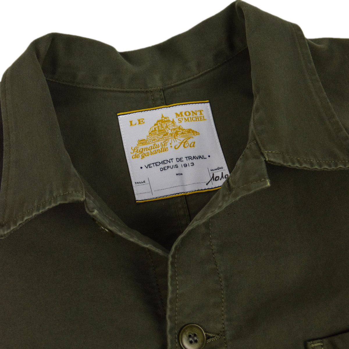 Le Mont St Michel Genuine Moleskin Work Jacket Kaki Collar