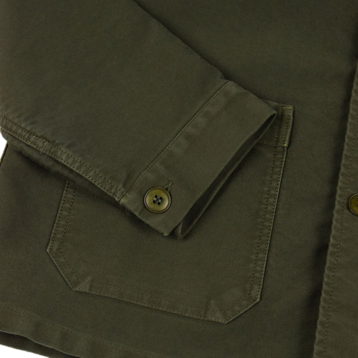 Le Mont St Michel Genuine Moleskin Work Jacket Kaki Cuff