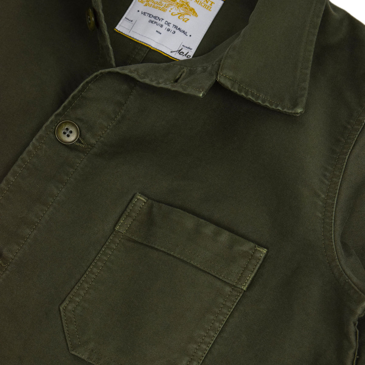 Le Mont St Michel Genuine Moleskin Work Jacket Kaki Pocket