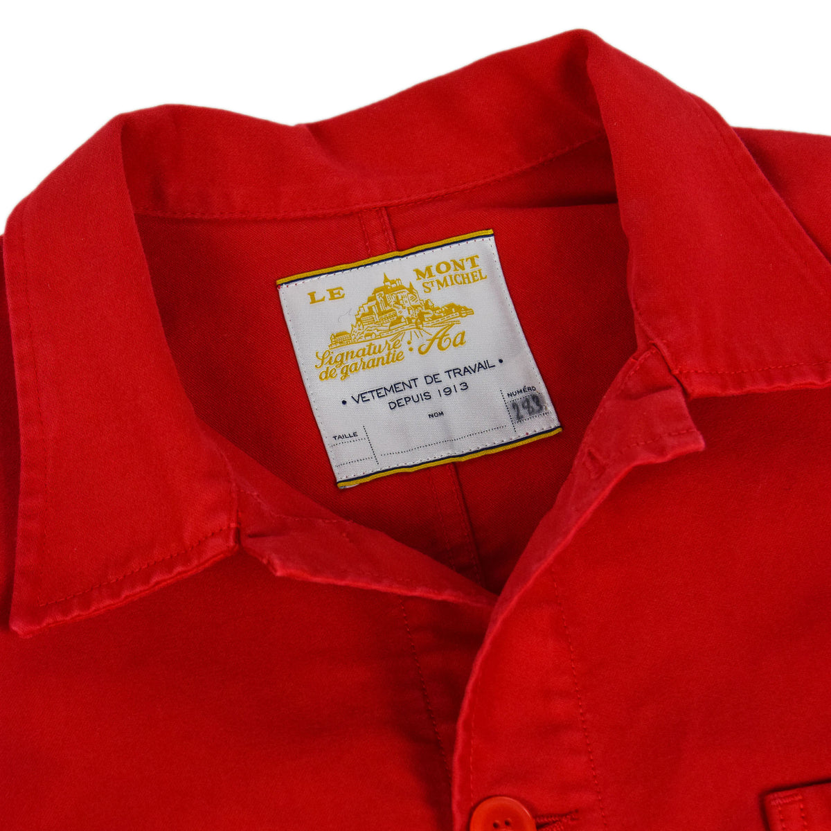 Le Mont St Michel Genuine Moleskin Work Jacket Red Collar