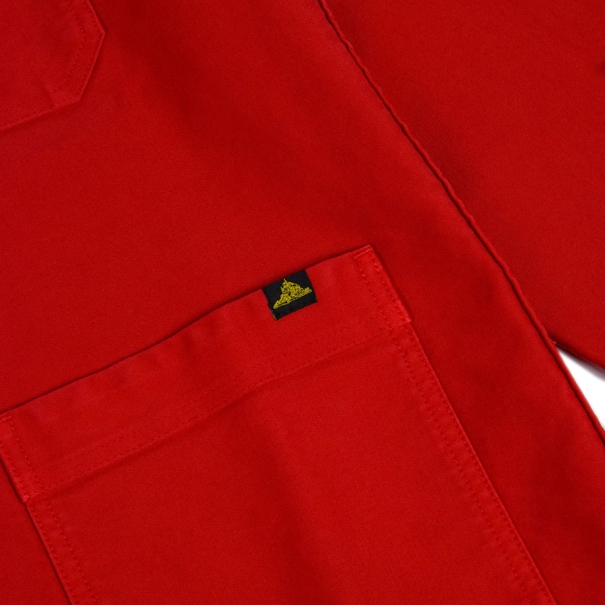 Le Mont St Michel Genuine Moleskin Work Jacket Red Lower Pocket