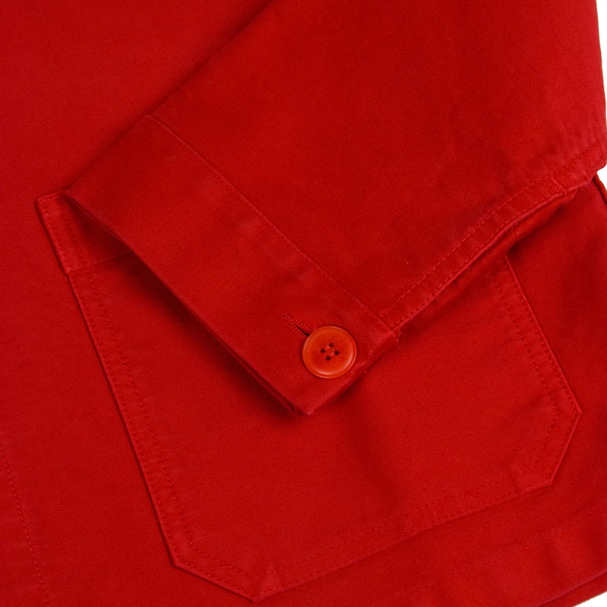 Le Mont St Michel Genuine Moleskin Work Jacket Red Cuff