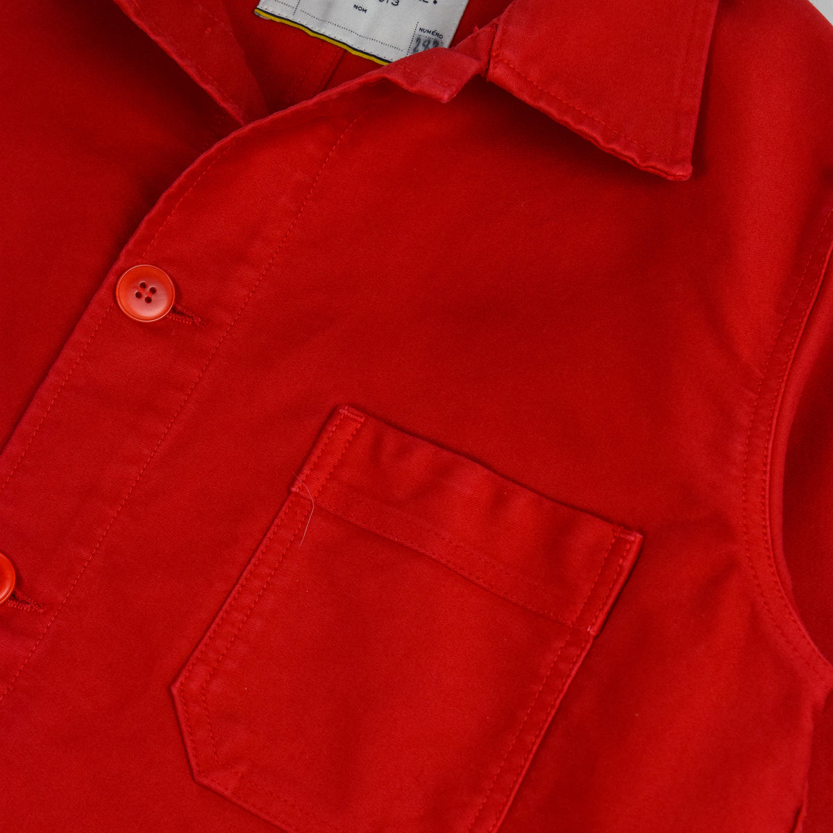 Le Mont St Michel Genuine Moleskin Work Jacket Red Pocket