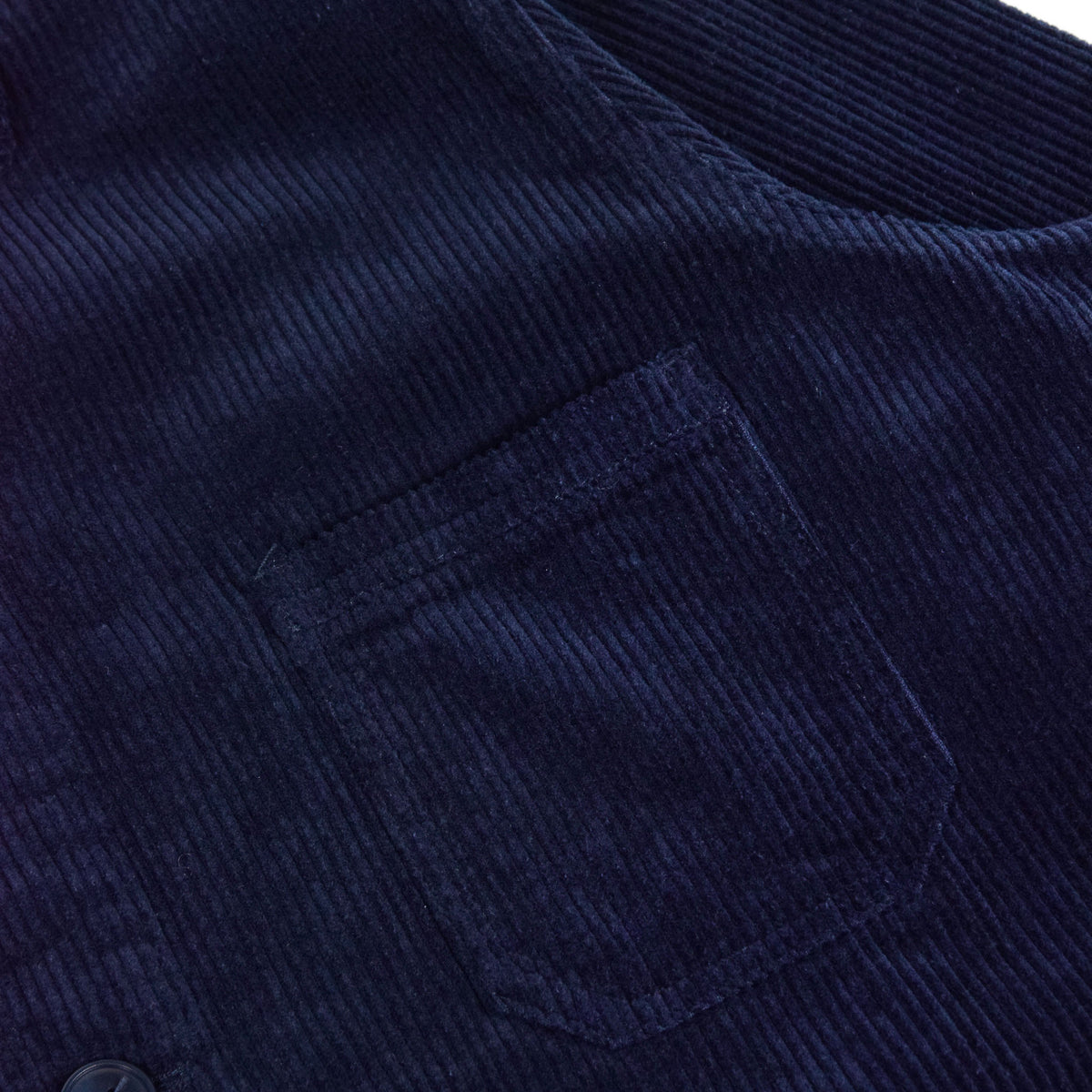 Le Mont St Michel Corduroy Work Jacket Indigo Blue Pocket