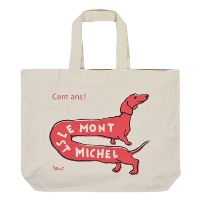 Le Mont St Michel Dog Screen Print Canvas Tote Bag Red front