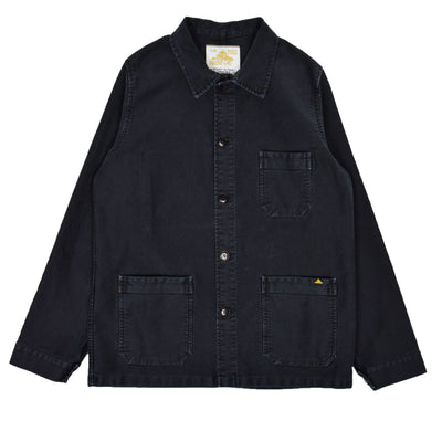 Le Mont St Michel Washed Moleskin Work Jacket Black Front