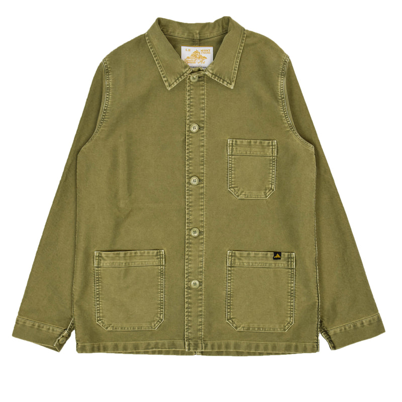Le Mont St Michel Washed Moleskin Work Jacket Kaki Front