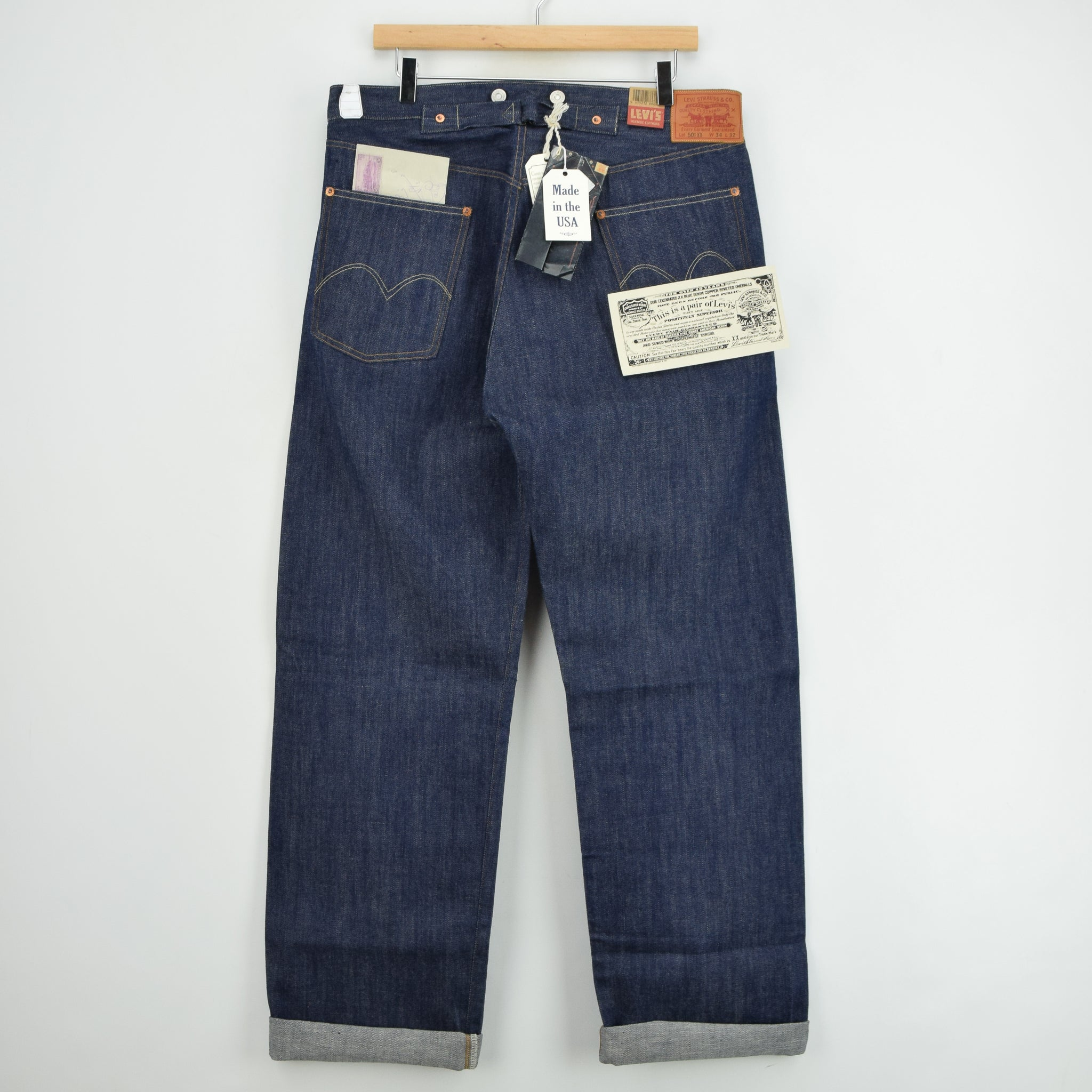 LVC Levi's Vintage Clothing 501 xx 1915 Shrink to Fit Selvedge Jeans 34 W 32 L back