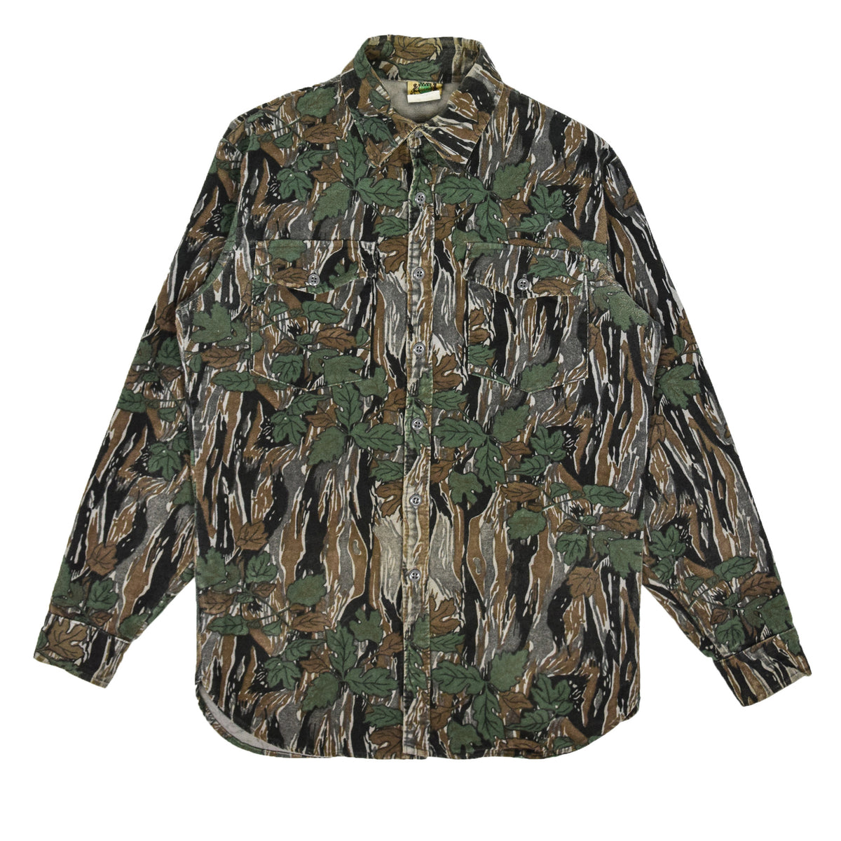 Vintage Ideal Camouflage Hunting Shooting Cotton Long Sleeve Shirt Made in USA M front