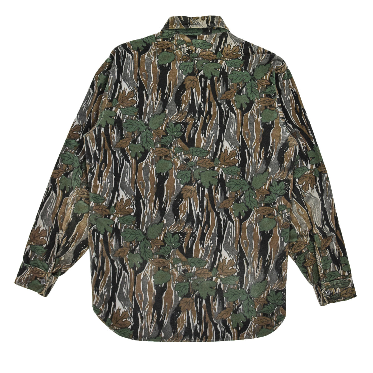 Vintage Ideal Camouflage Hunting Shooting Cotton Long Sleeve Shirt Made in USA M back