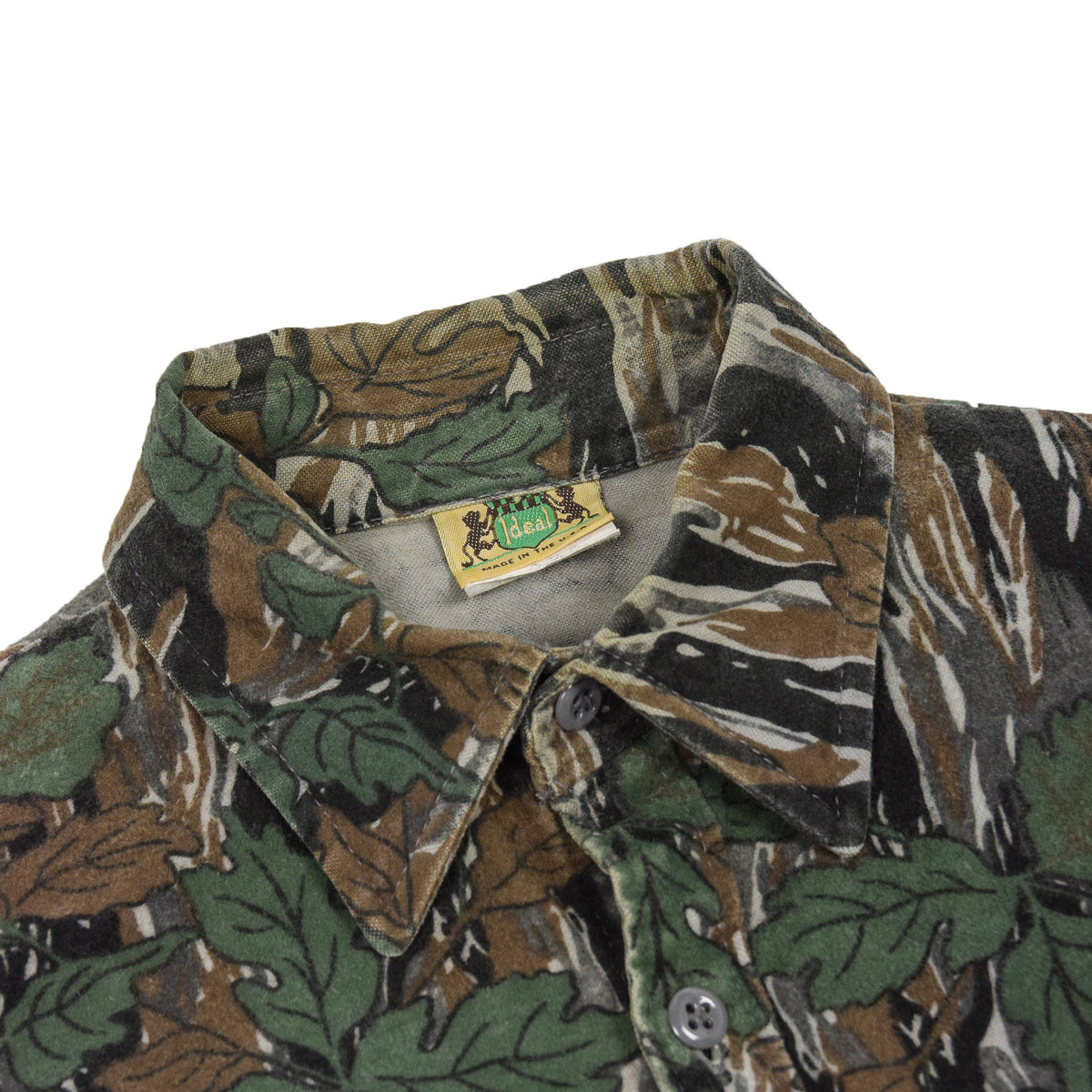Vintage Ideal Camouflage Hunting Shooting Cotton Long Sleeve Shirt Made in USA M collar