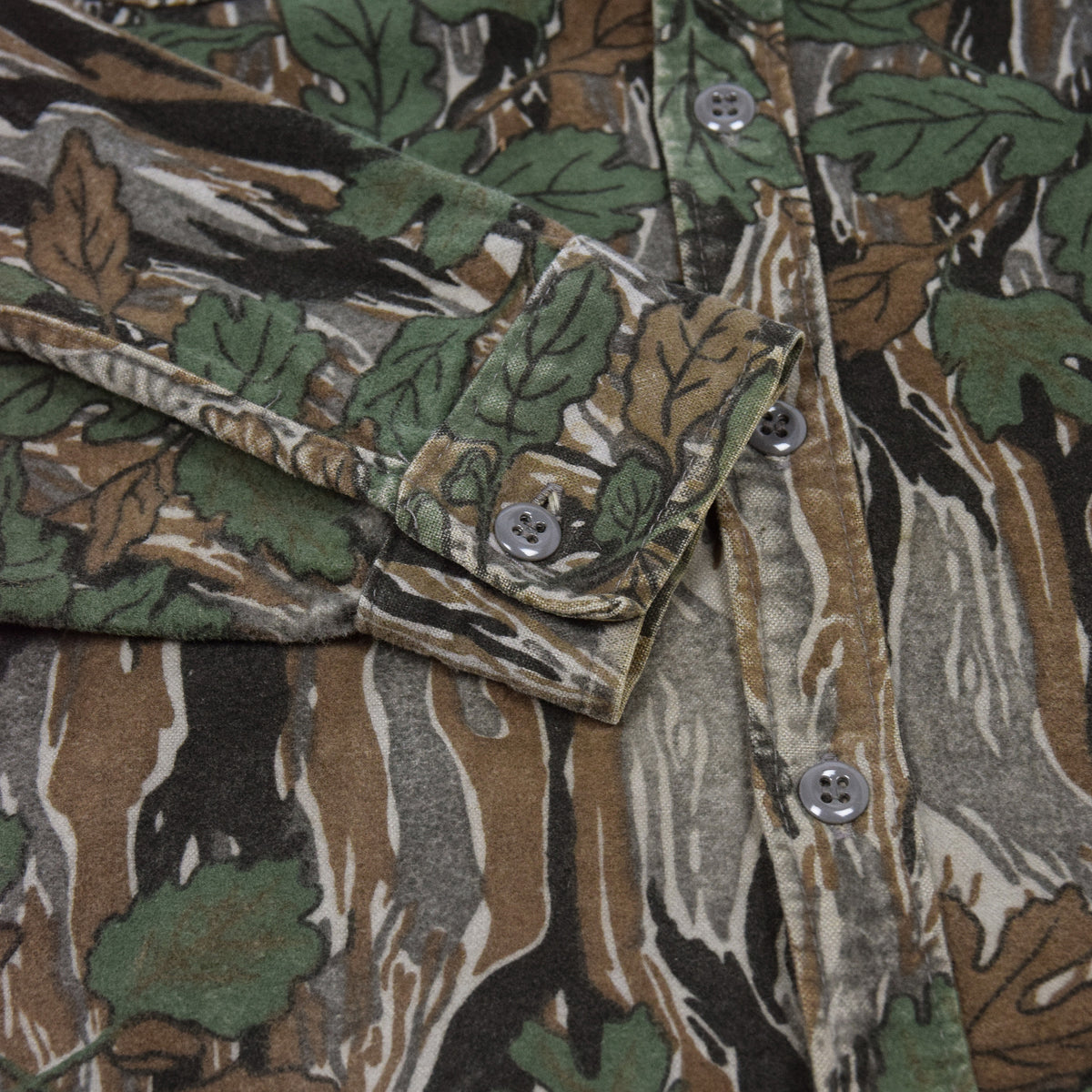 Vintage Ideal Camouflage Hunting Shooting Cotton Long Sleeve Shirt Made in USA M cuff