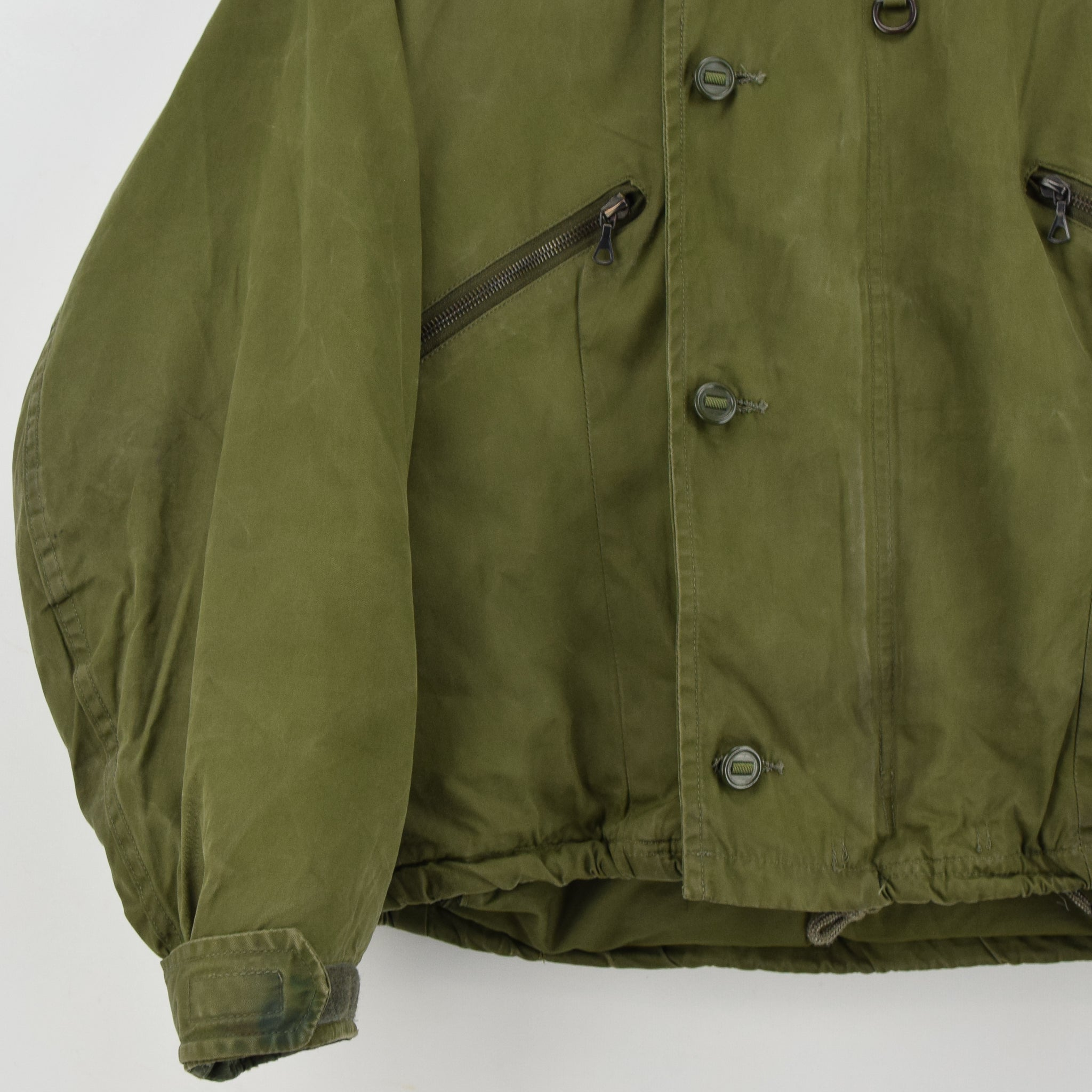 Vintage 90s Military British RAF Cold Weather Mk 3 Flight Cotton Bomber Jacket S front hem
