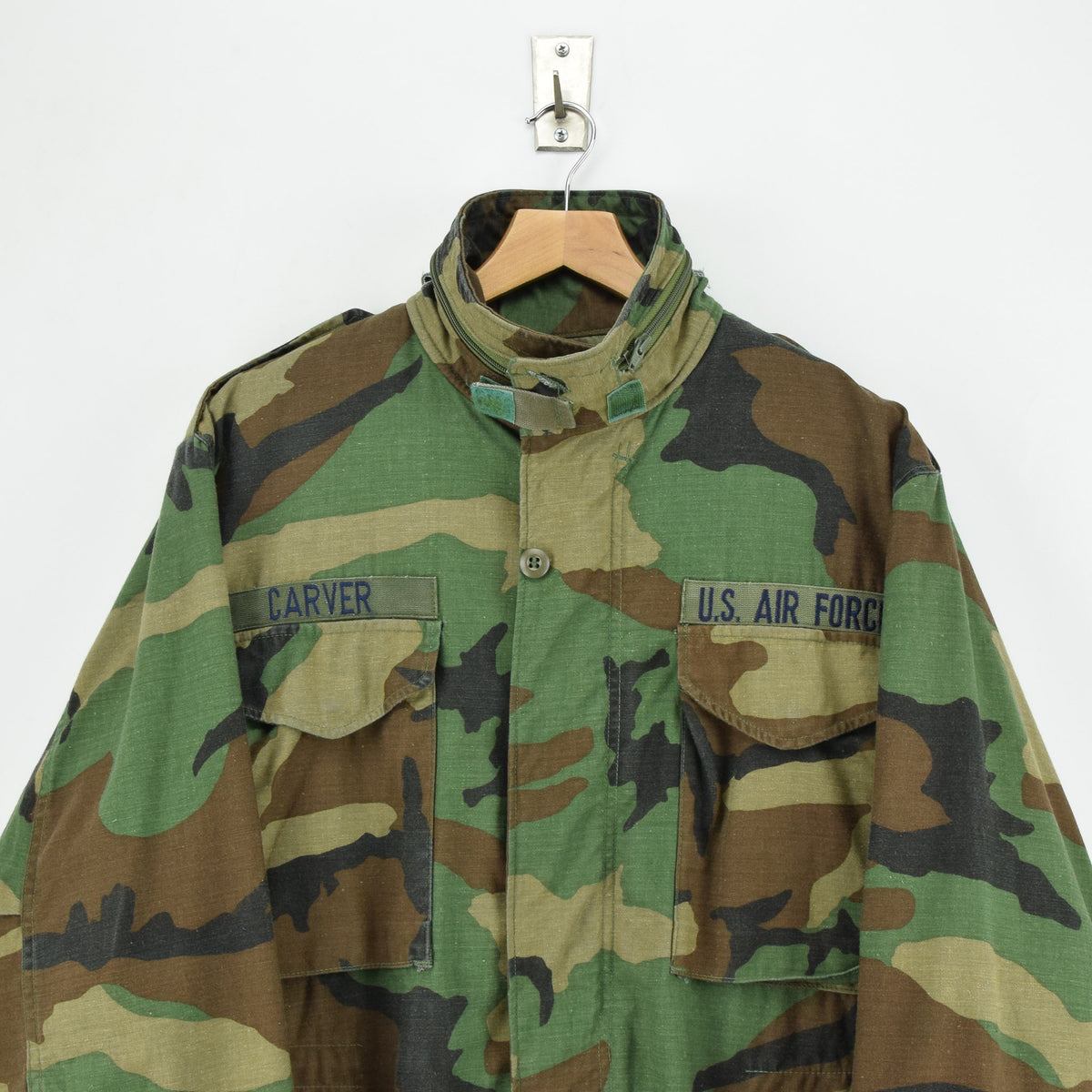 Vintage 80s M-65 Woodland Camouflage Field Coat Military US Air Force Jacket M chest