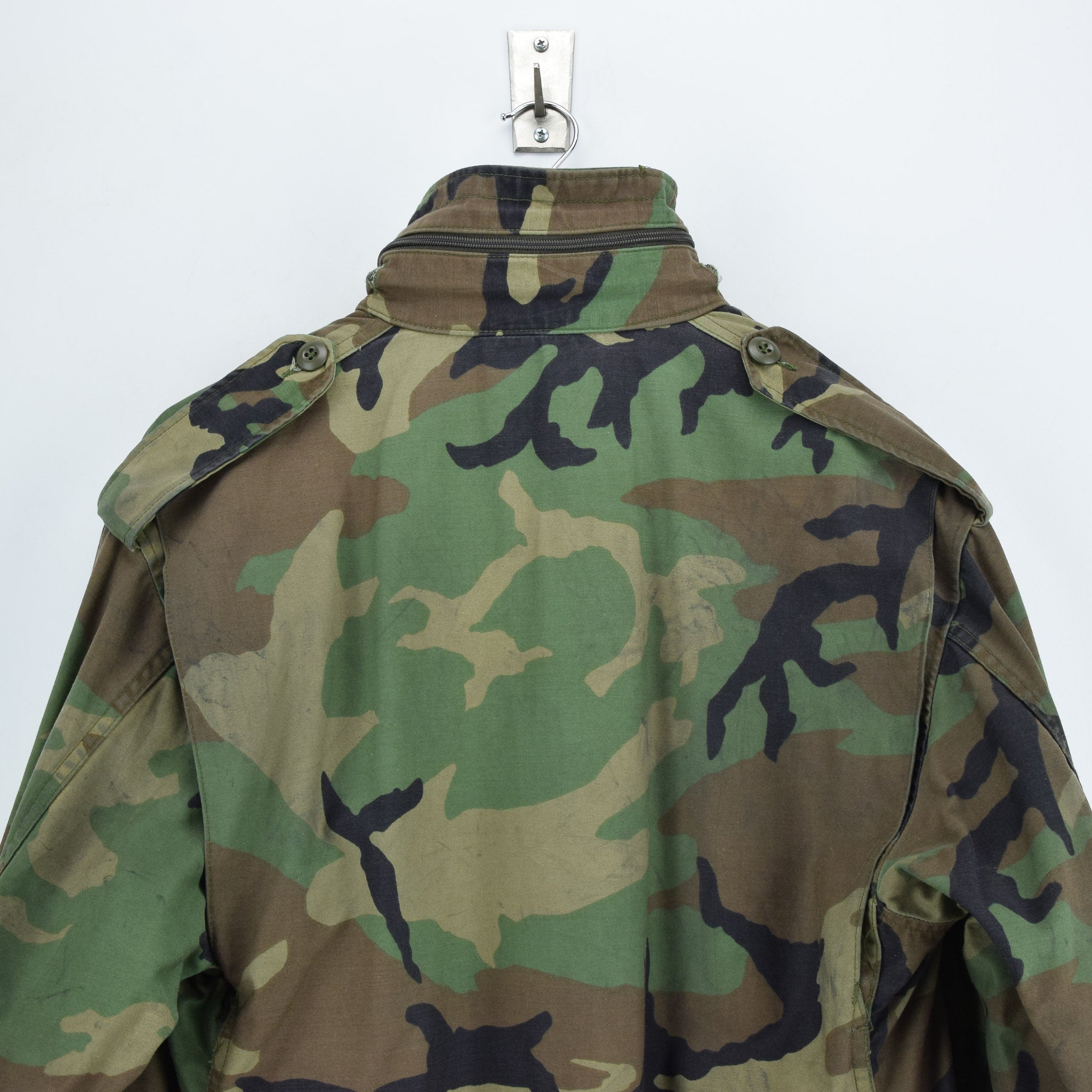 Vintage 80s M-65 Woodland Camouflage Field Coat Alpha Industries Army Jacket M shoulders