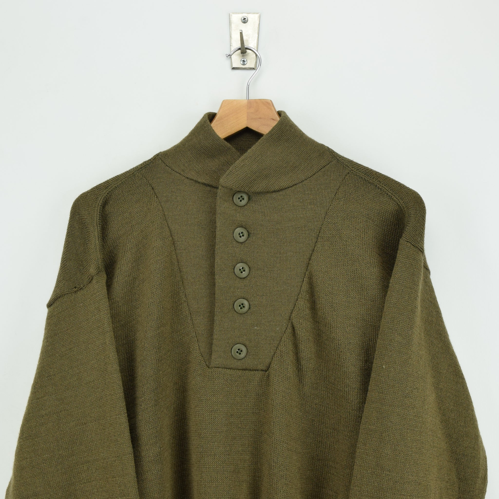 Vintage 60s US Army Military Sweater Olive Wool USA Made Button Pullover M chest