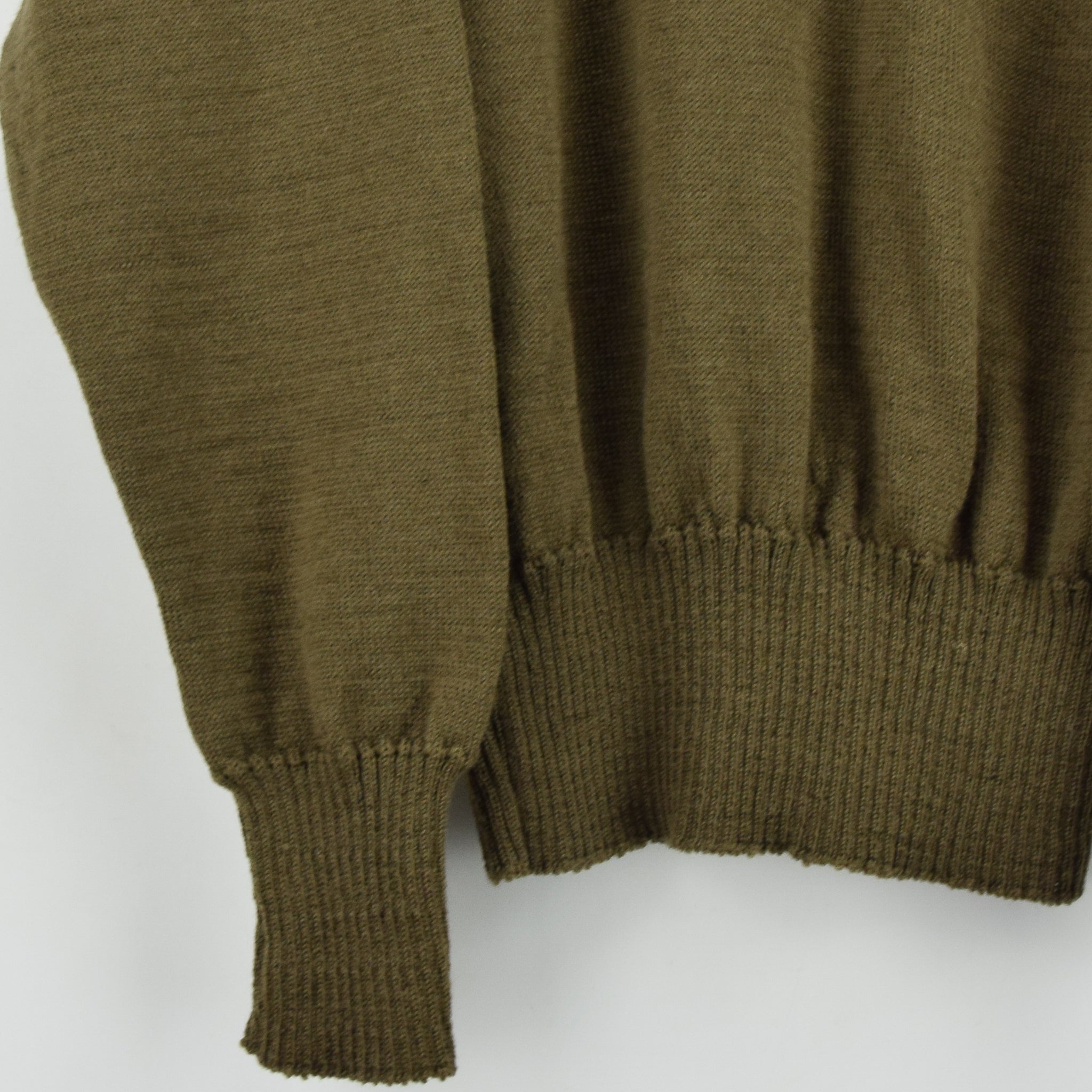 Vintage 60s US Army Military Sweater Olive Wool USA Made Button Pullover M front hem