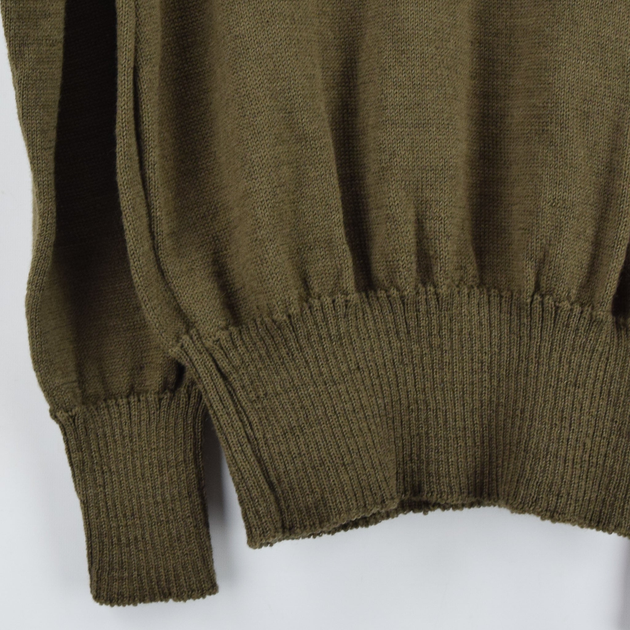 Vintage 60s US Army Military Sweater Olive Wool USA Made Button Pullover M back hem