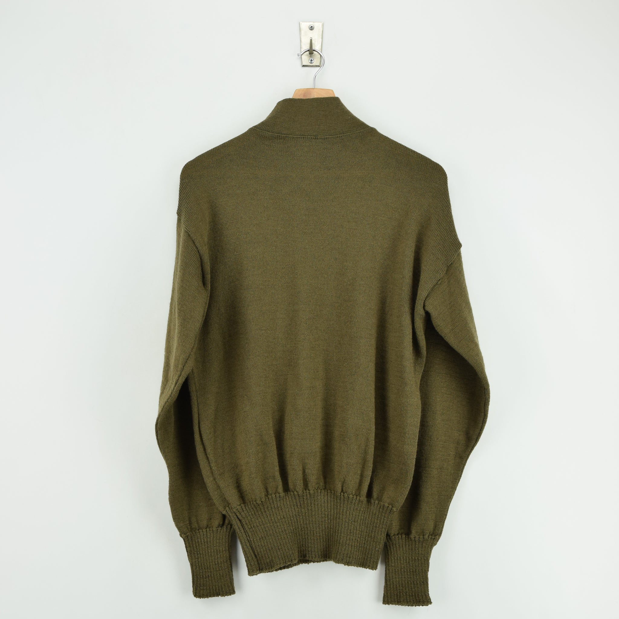 Vintage 60s US Army Military Sweater Olive Wool USA Made Button Pullover M back