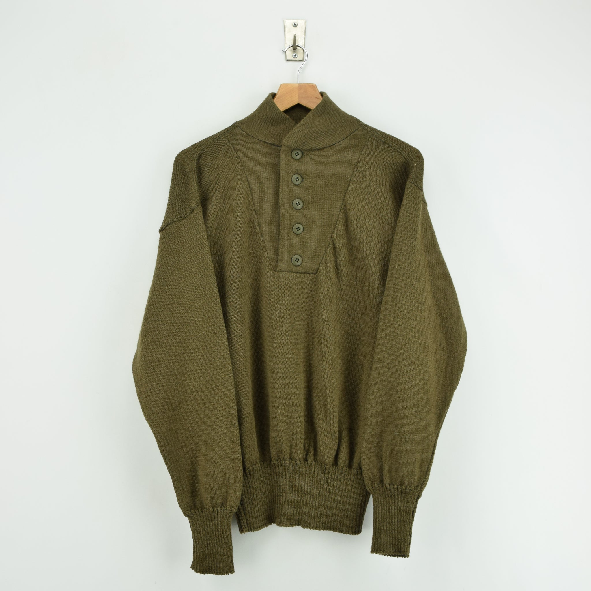 Vintage 60s US Army Military Sweater Olive Wool USA Made Button Pullover M front
