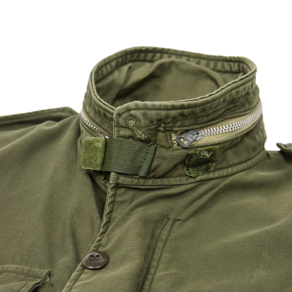 Vintage 60s Vietnam M-65 Man's Field Sateen 0G-107 Green US Army Coat XS collar
