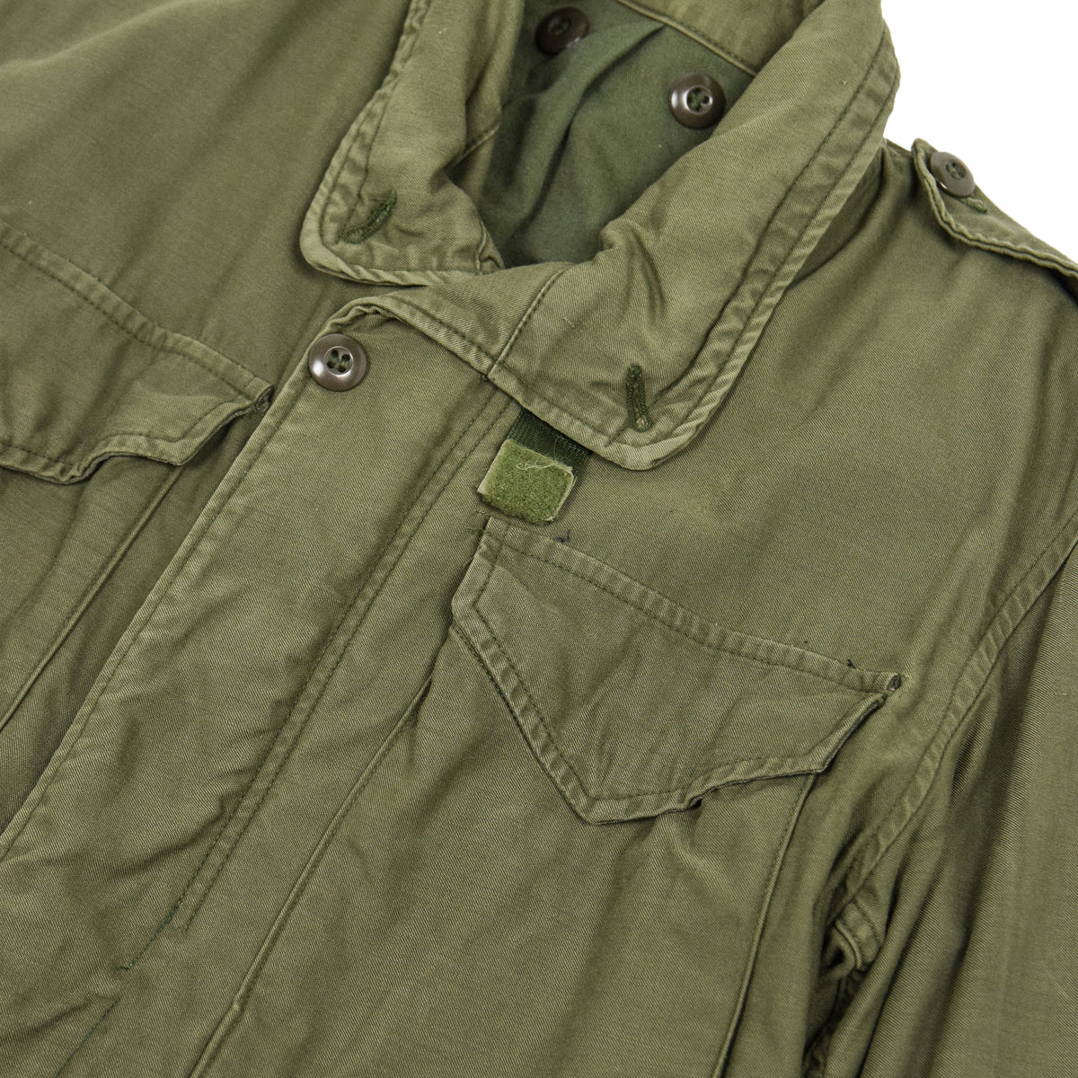 Vintage 60s Vietnam M-65 Man's Field Sateen 0G-107 Green US Army Coat XS detail