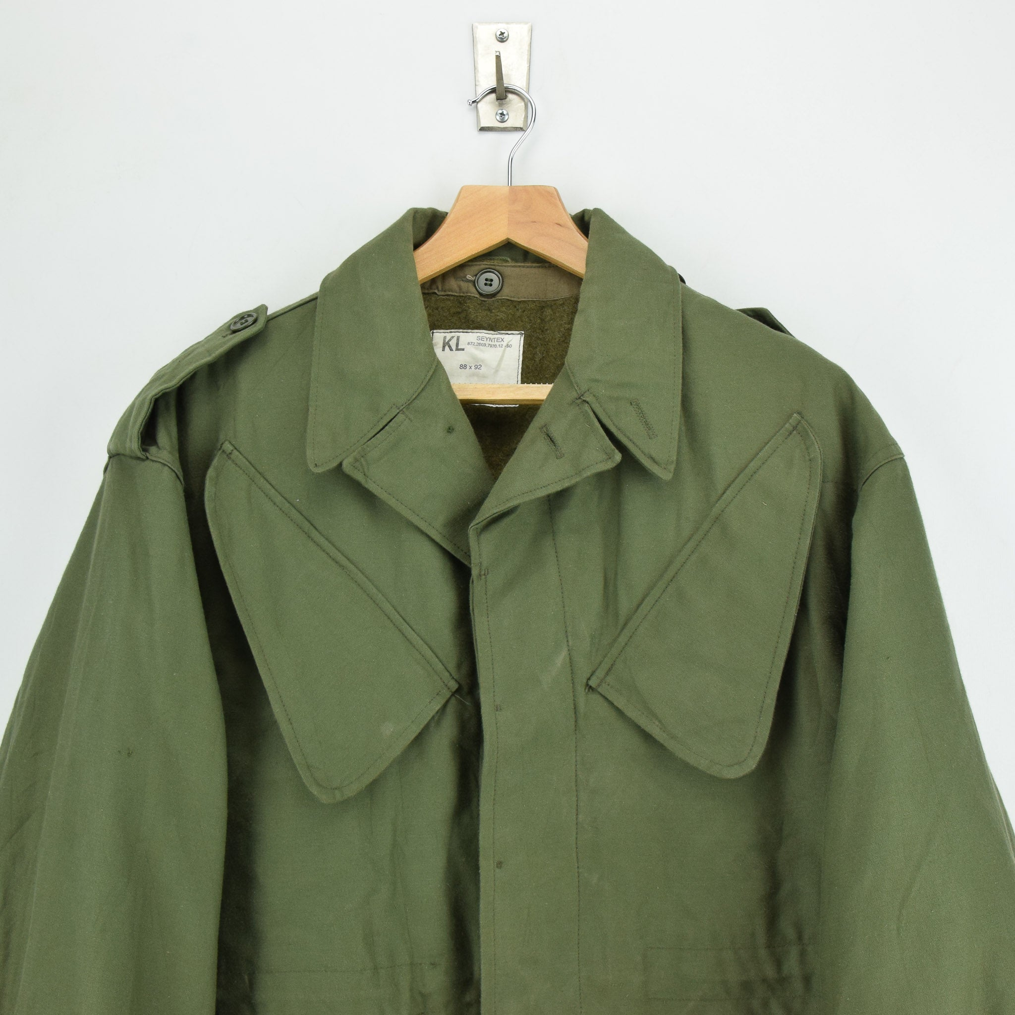 Vintage 80s Seyntex Green Dutch Army Cotton Military Field Jacket with Liner M chest