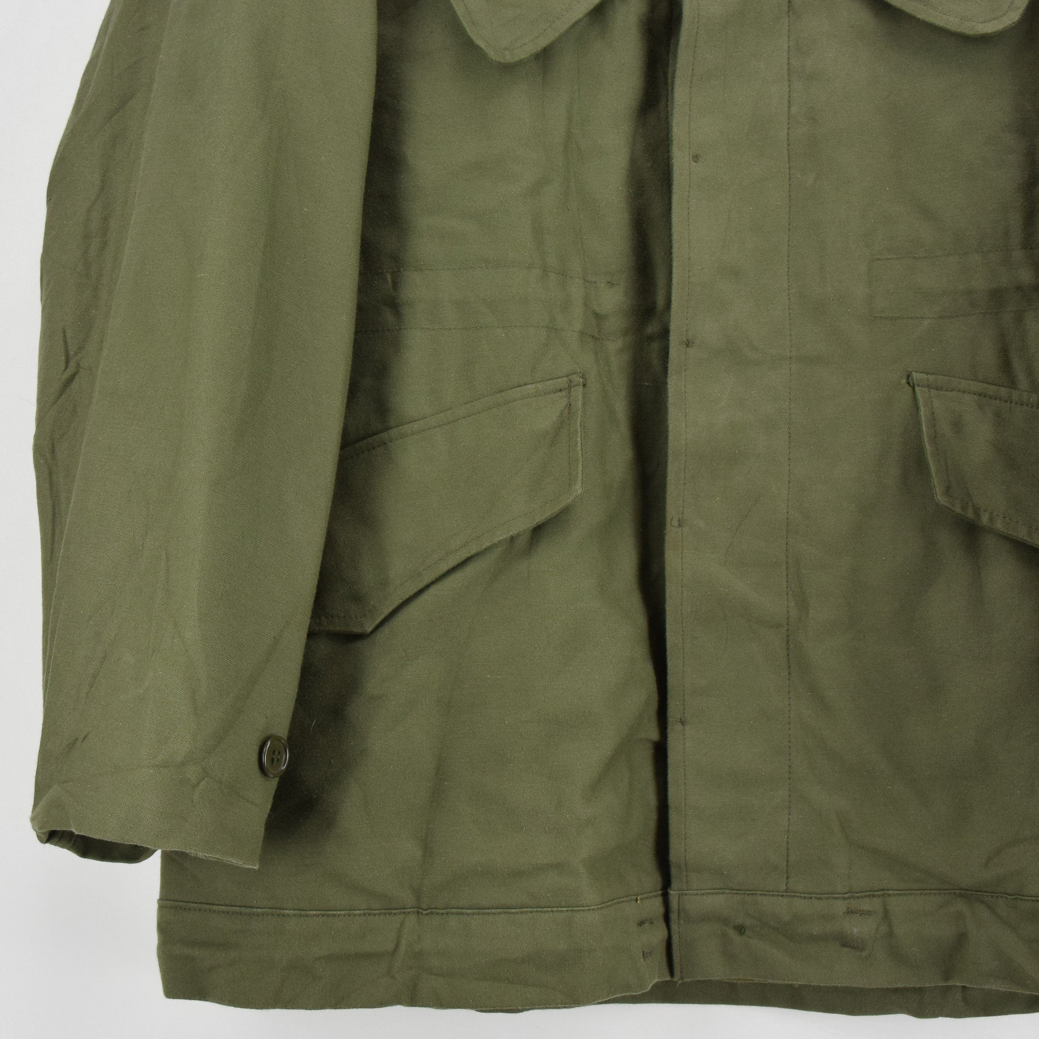 Vintage 80s Seyntex Green Dutch Army Cotton Military Field Jacket with Liner M front hem