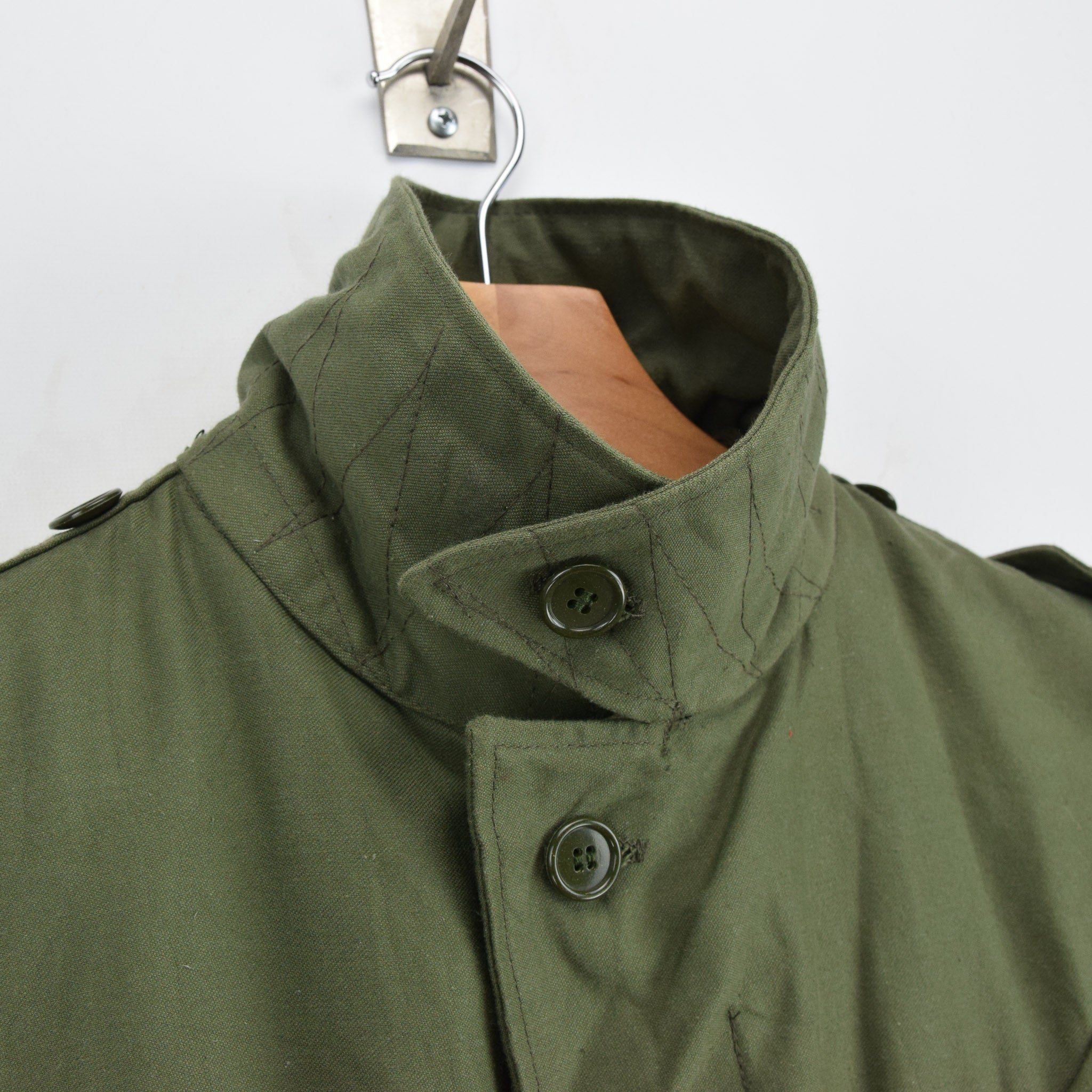 Vintage 80s Seyntex Green Dutch Army Cotton Military Field Jacket with Liner M