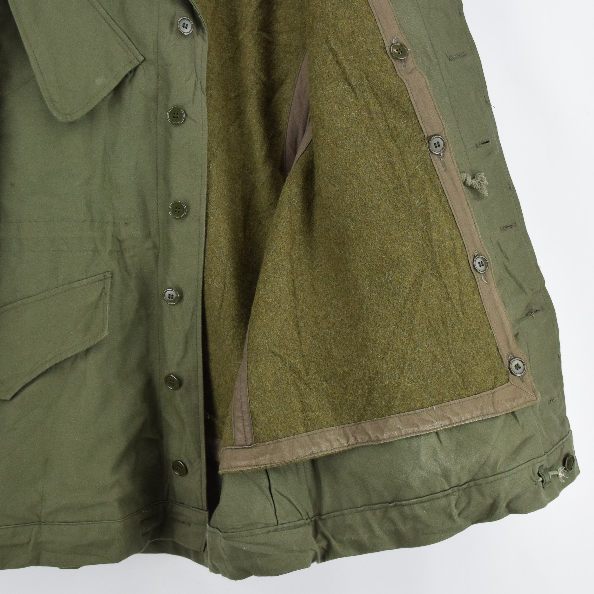 Vintage 80s Seyntex Green Dutch Army Cotton Military Field Jacket with Liner M lining