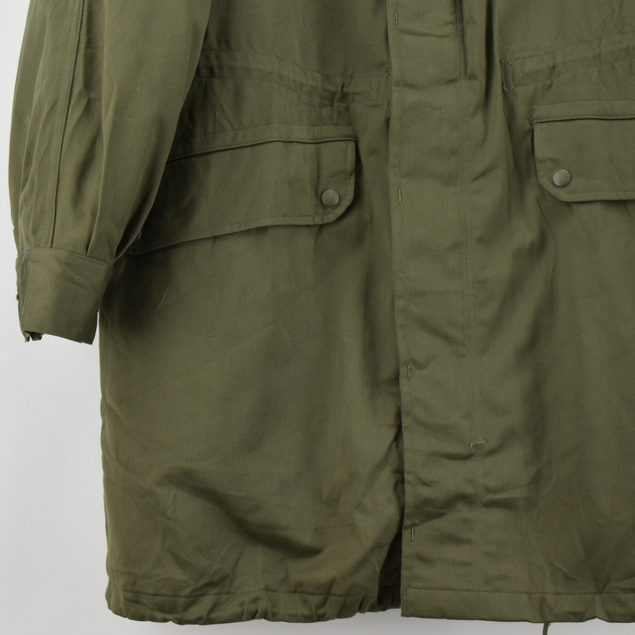 Vintage 1980s Deadstock French Army Armee Francaise Parka Jacket L / XL front hem
