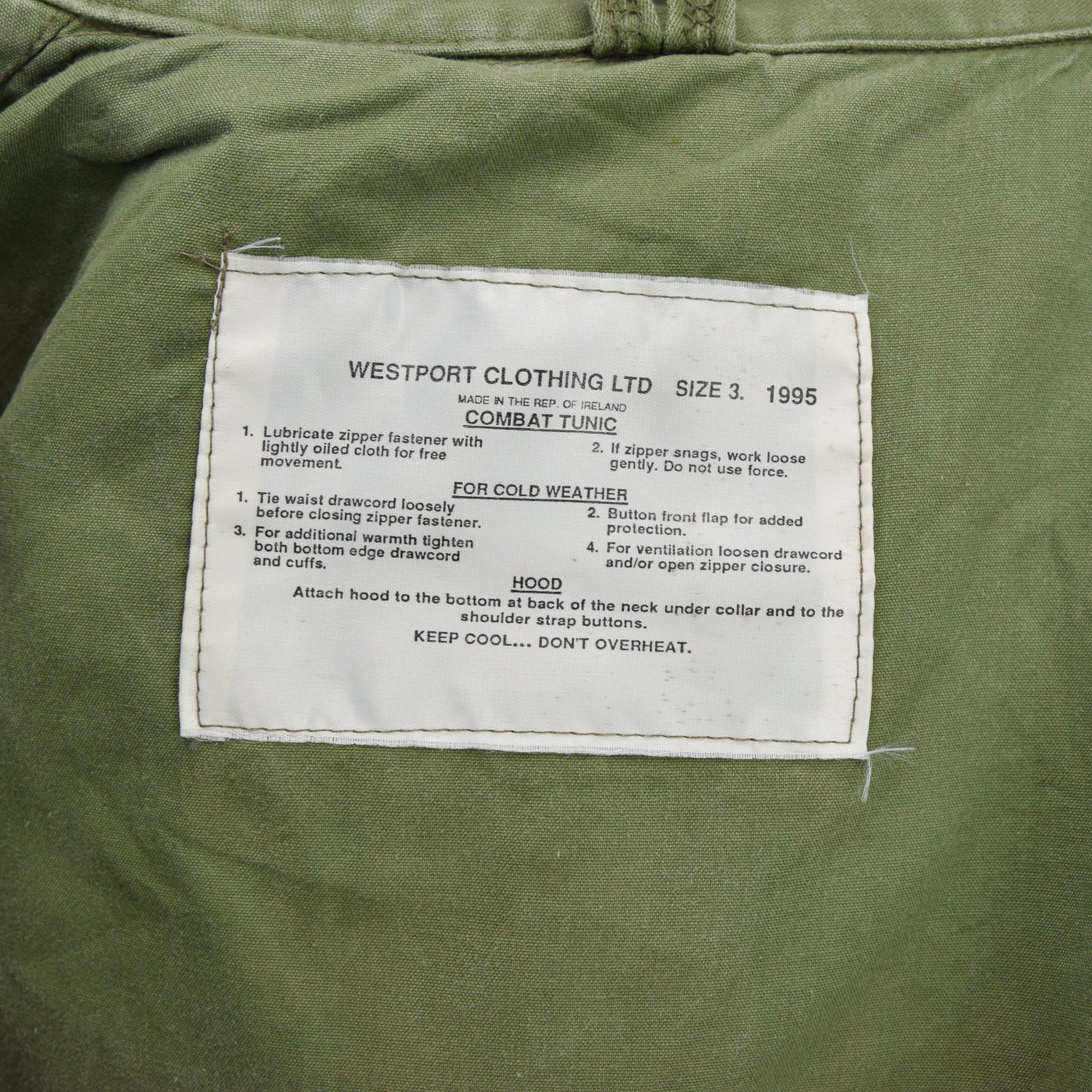 Vintage 90s Irish Army Combat Tunic Field Jacket Green Made in Ireland M label